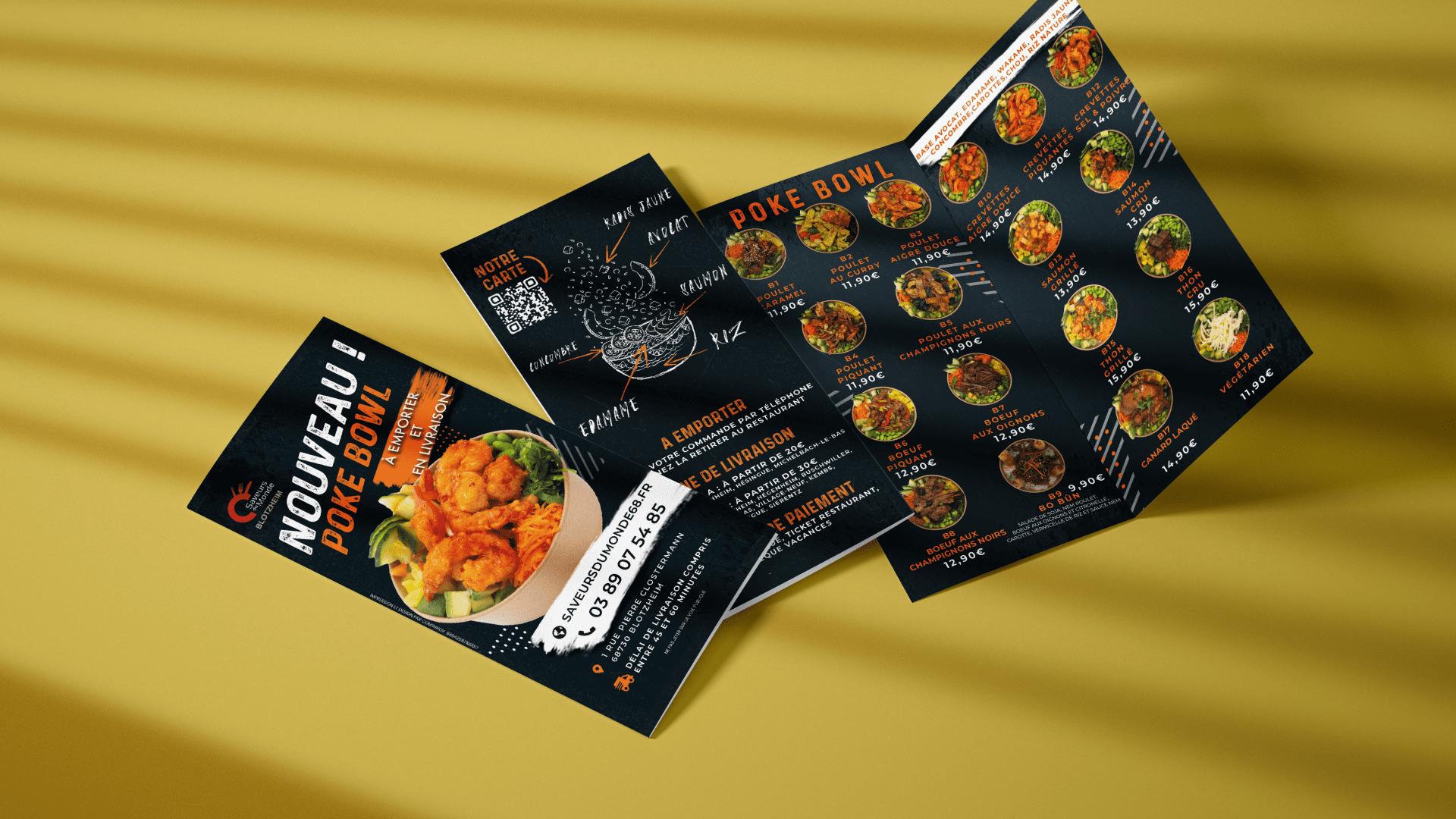 Flyer de menu pour le restaurant Saveurs du monde à Blotzheim
