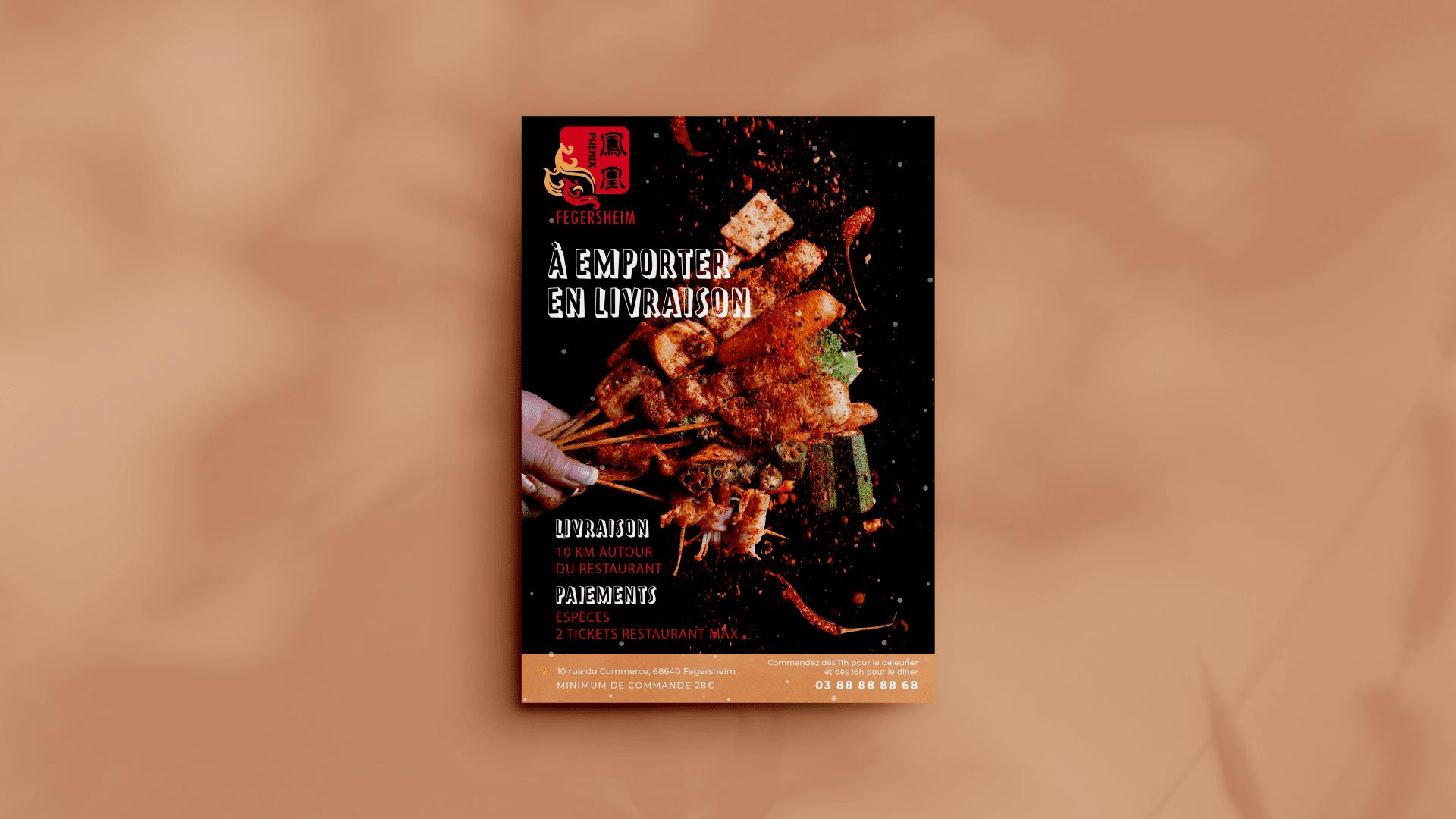 Flyer de menu pour le restaurant le Phenix à Fegersheim